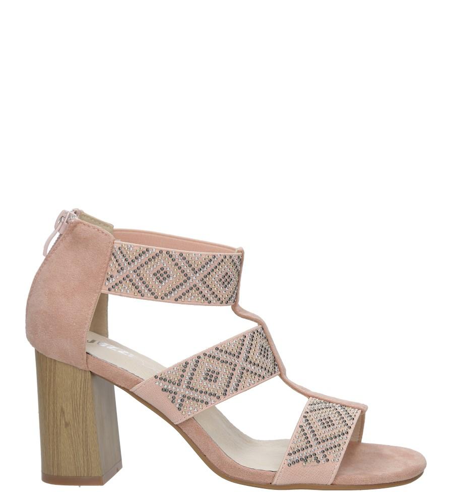Różowe sandały na obcasie z ozdobnymi nitami Jezzi SA123-3 sezon Lato