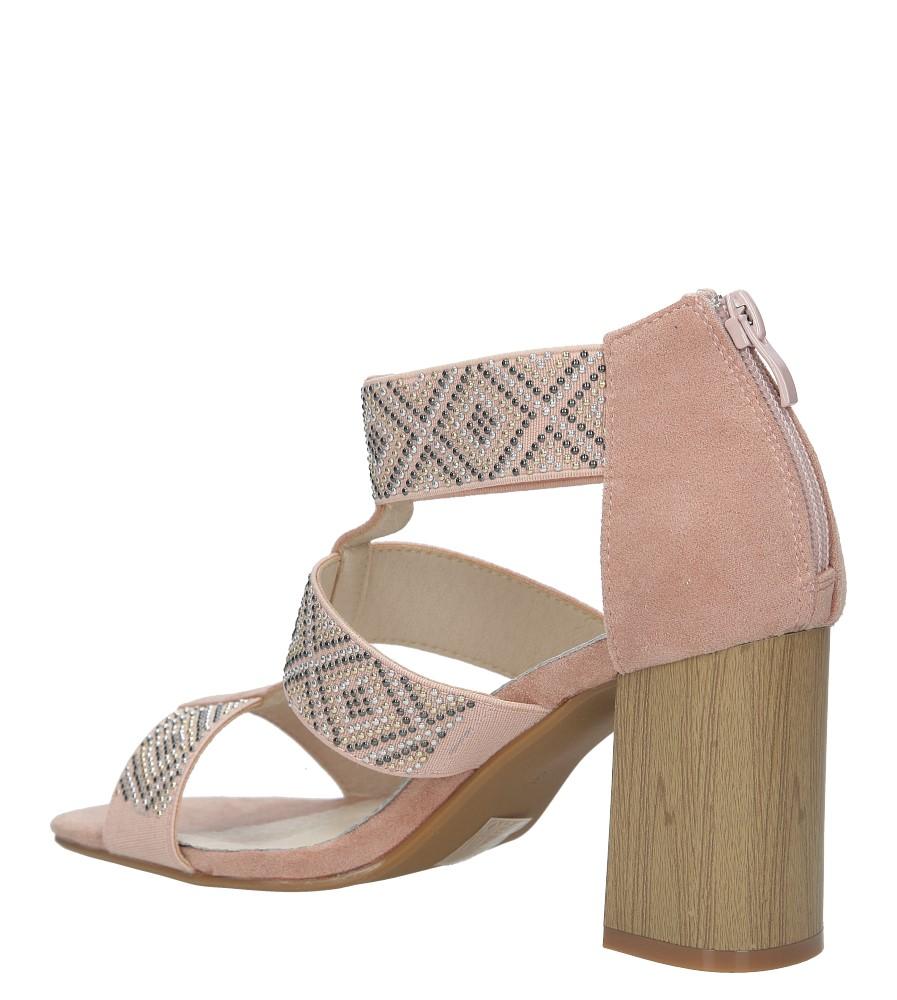 Różowe sandały na obcasie z ozdobnymi nitami Jezzi SA123-3 kolor różowy