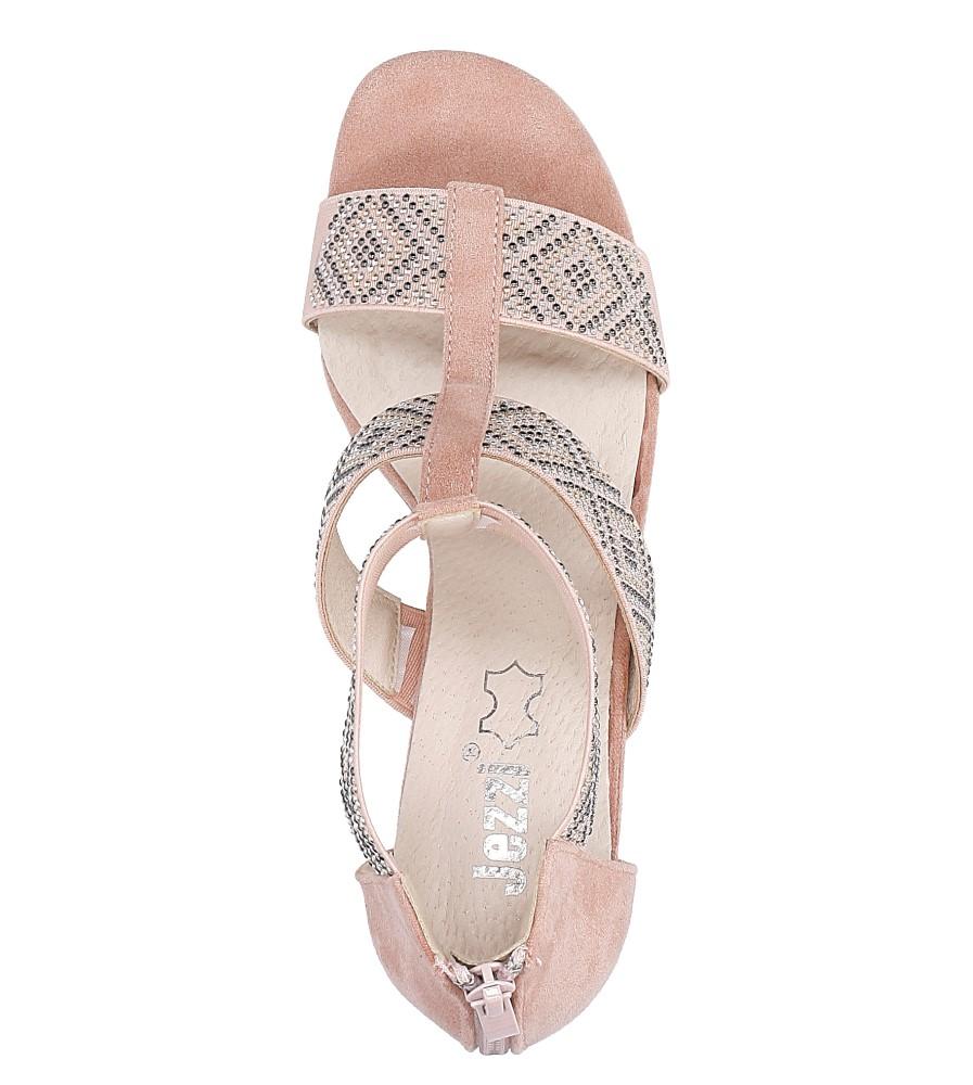 Różowe sandały na obcasie z ozdobnymi nitami Jezzi SA123-3 wysokosc_obcasa 8 cm