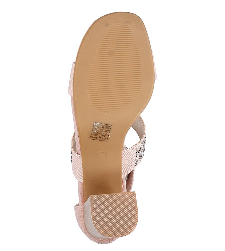 Różowe sandały na obcasie z ozdobnymi nitami Jezzi SA123-3 wysokosc_platformy 1 cm