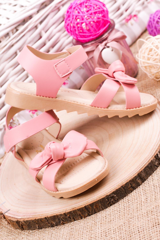 Różowe sandały na rzep z kokardą Casu HY-17 producent Casu