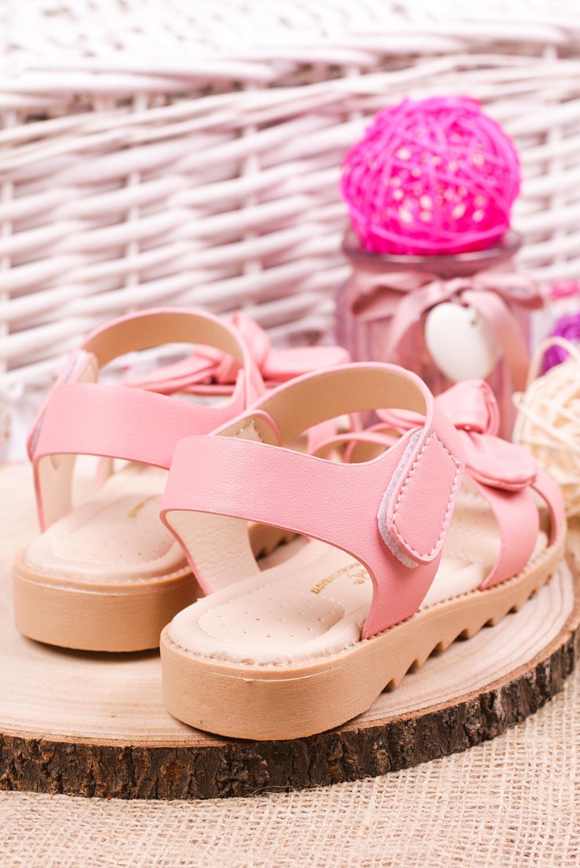 Różowe sandały na rzep z kokardą Casu HY-17