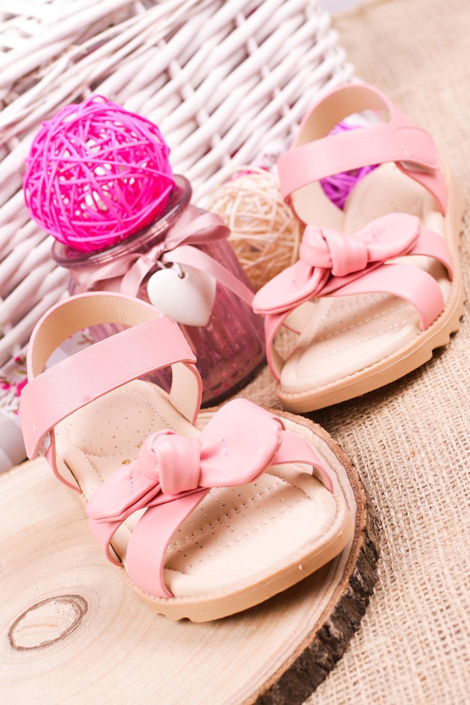 Różowe sandały na rzep z kokardą Casu HY-17 sezon Lato