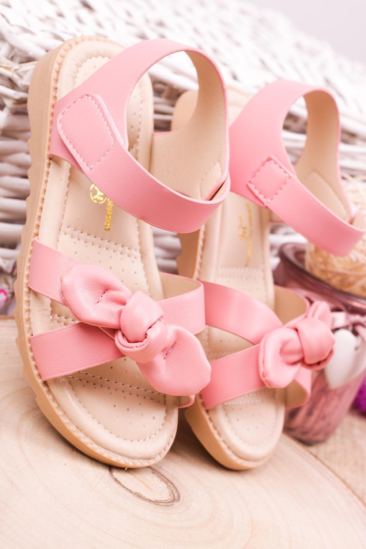 Różowe sandały na rzep z kokardą Casu HY-17 kolor różowy