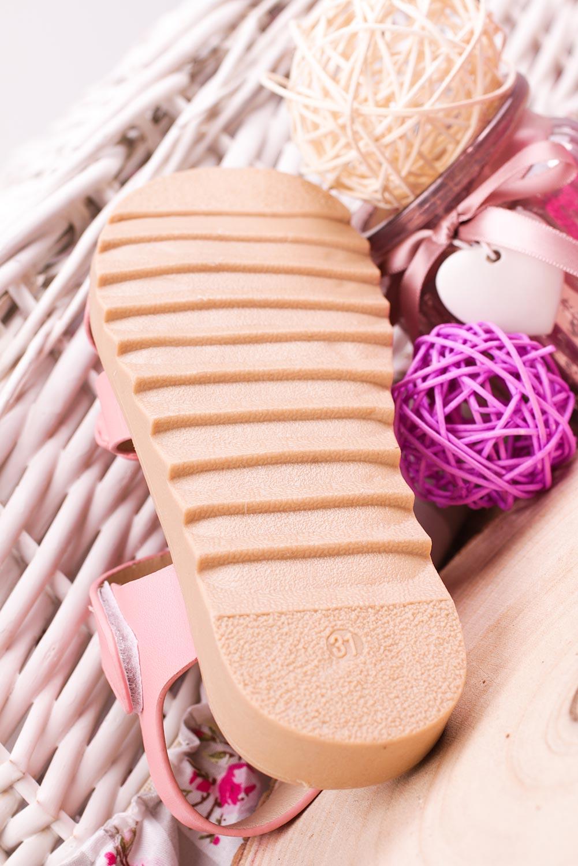 Różowe sandały na rzep z kokardą Casu HY-17 wysokosc_platformy 1.5 cm