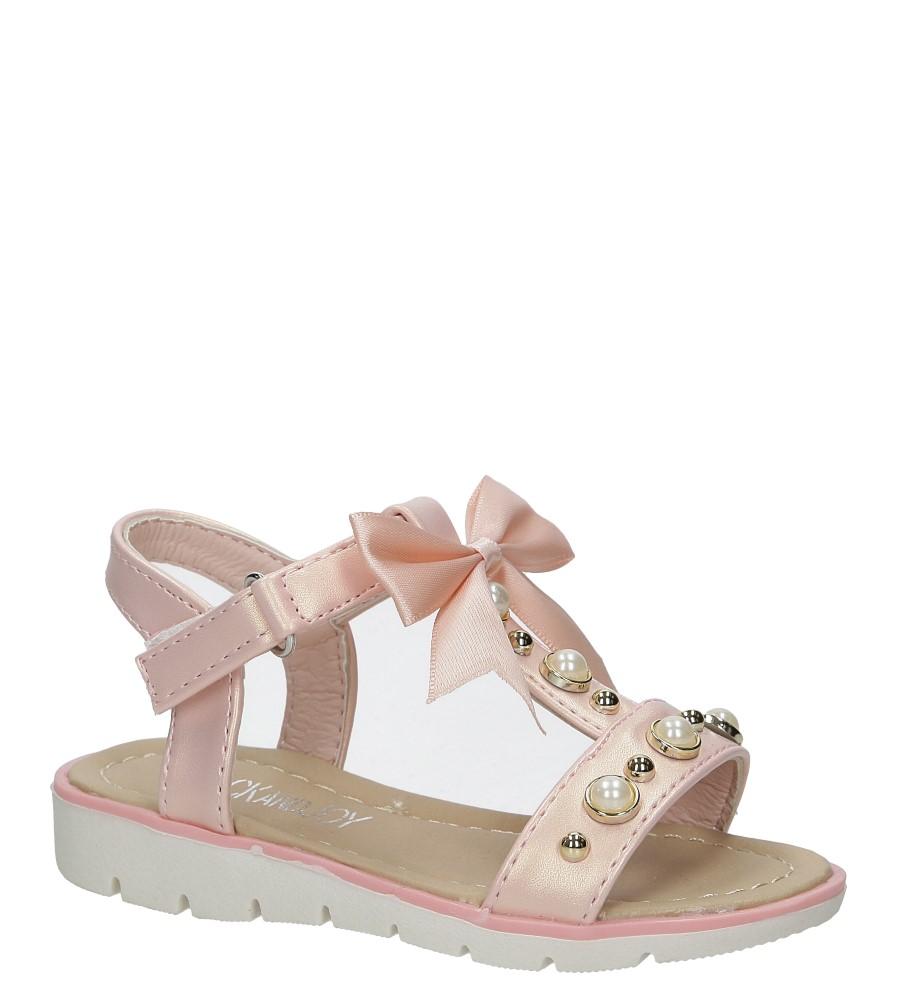 Różowe sandały na rzep z kokardą i perełkami Casu 20414-2B producent Casu