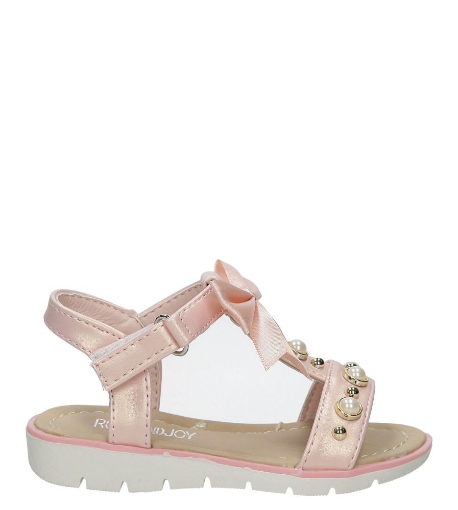Różowe sandały na rzep z kokardą i perełkami Casu 20414-2B