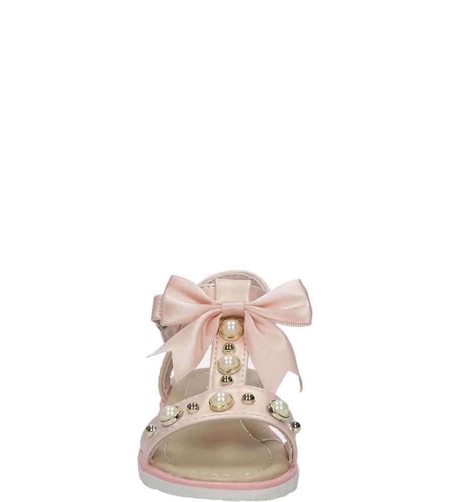 Różowe sandały na rzep z kokardą i perełkami Casu 20414-2B sezon Lato