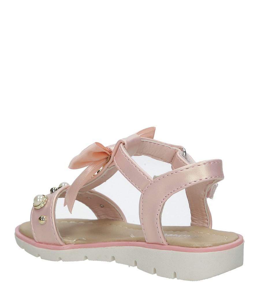 Różowe sandały na rzep z kokardą i perełkami Casu 20414-2B kolor różowy