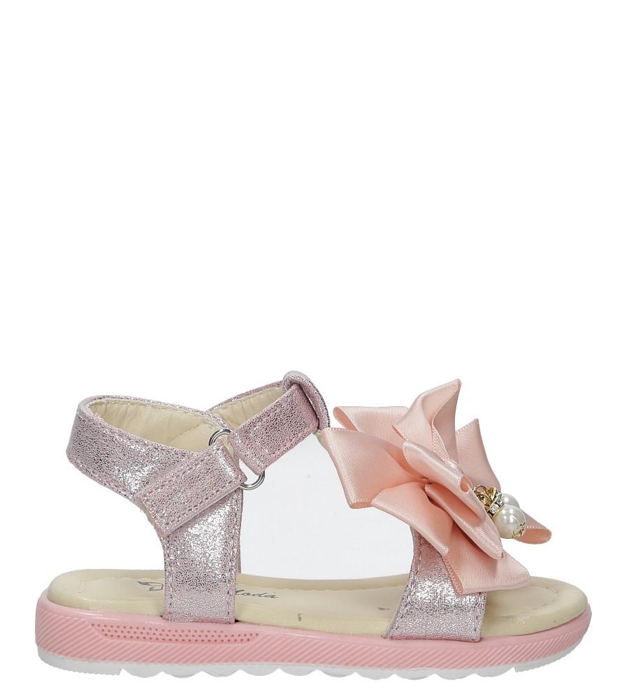 Różowe sandały na rzep z kokardą i perełkami Casu 8913B