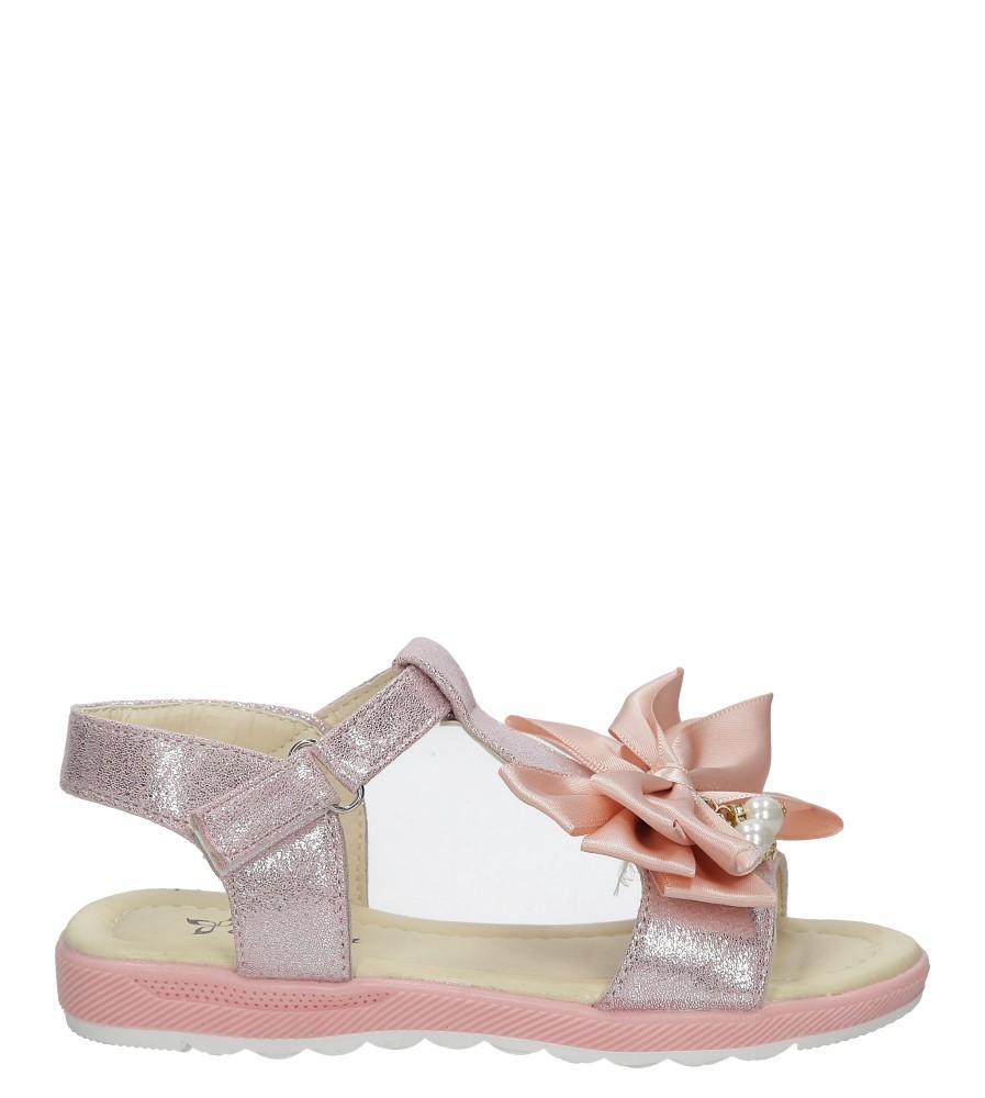 Różowe sandały na rzep z kokardą i perełkami Casu 8913C