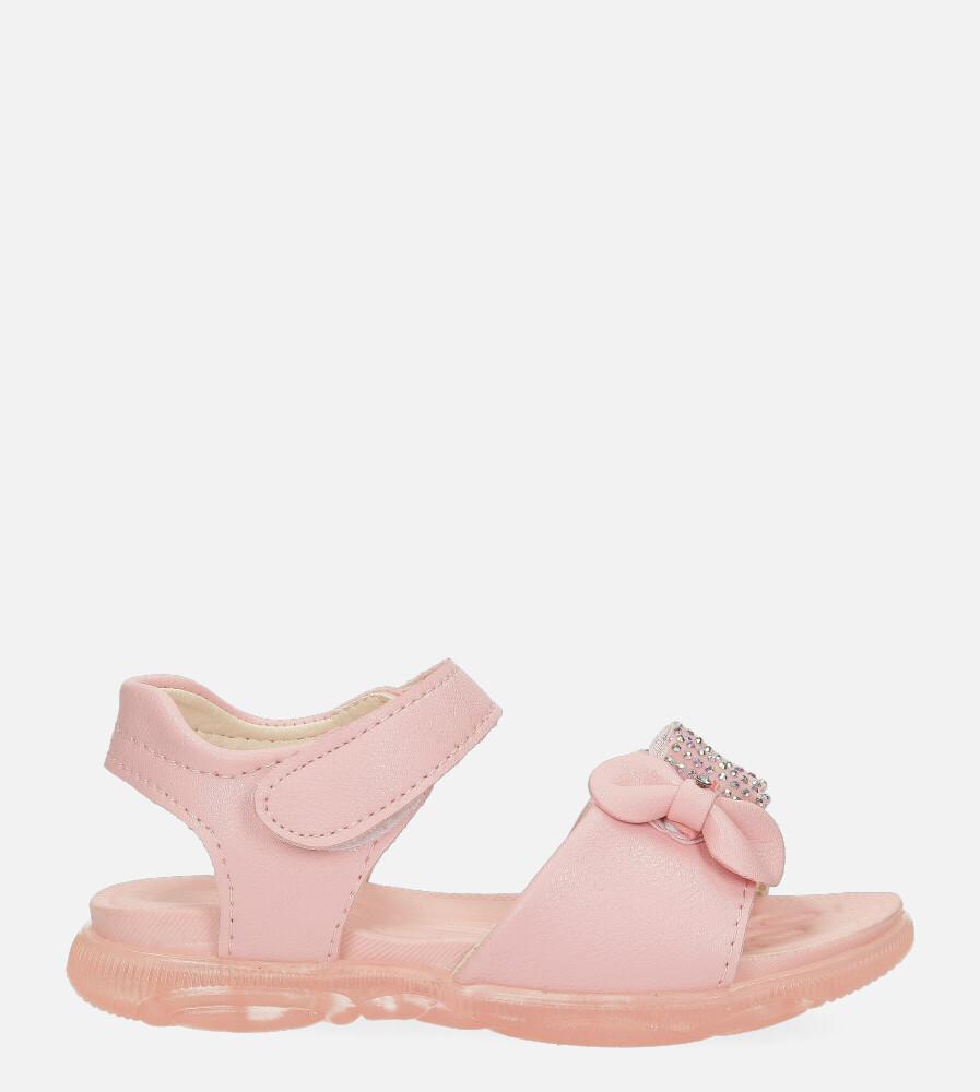 Różowe sandały na rzep z kokardką i cyrkoniami Casu 20U6/M