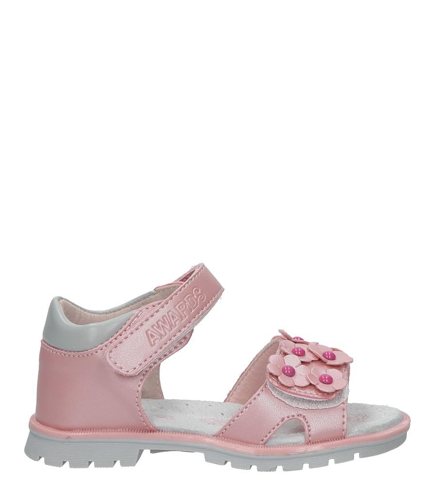 Różowe sandały na rzep z kwiatkami Casu B858