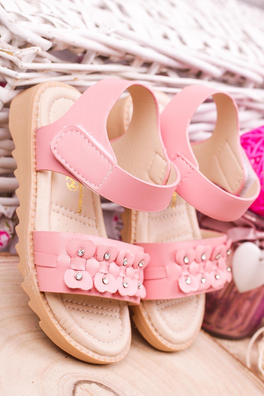Różowe sandały na rzep z ozdobami Casu HY-13 producent Casu