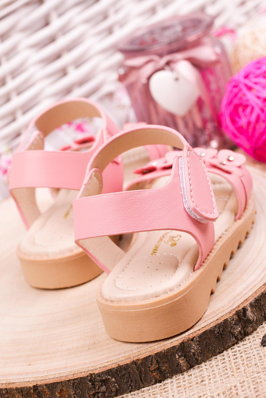 Różowe sandały na rzep z ozdobami Casu HY-13
