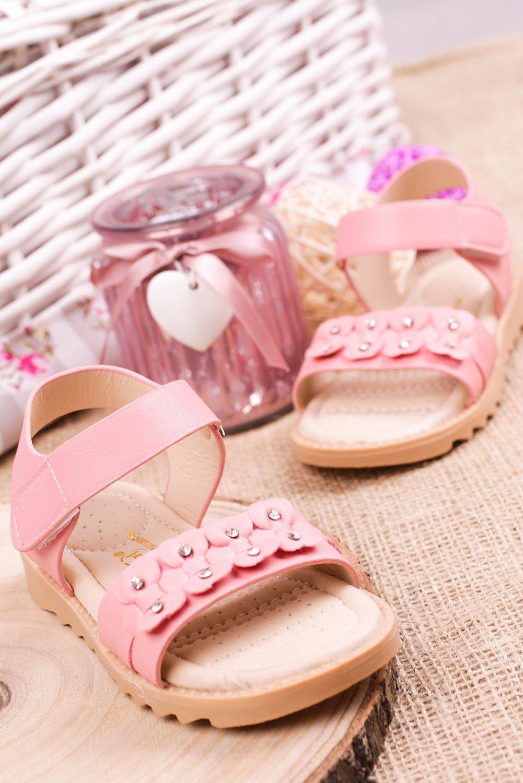 Różowe sandały na rzep z ozdobami Casu HY-13 sezon Lato