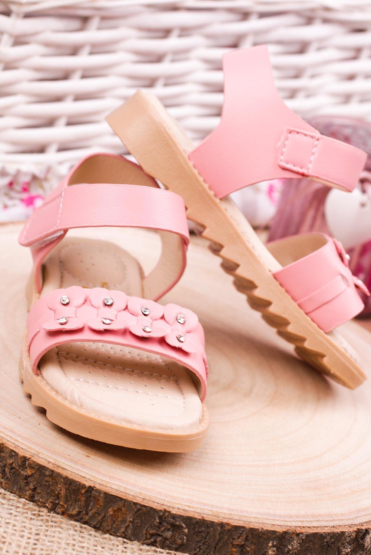Różowe sandały na rzep z ozdobami Casu HY-13 kolor różowy