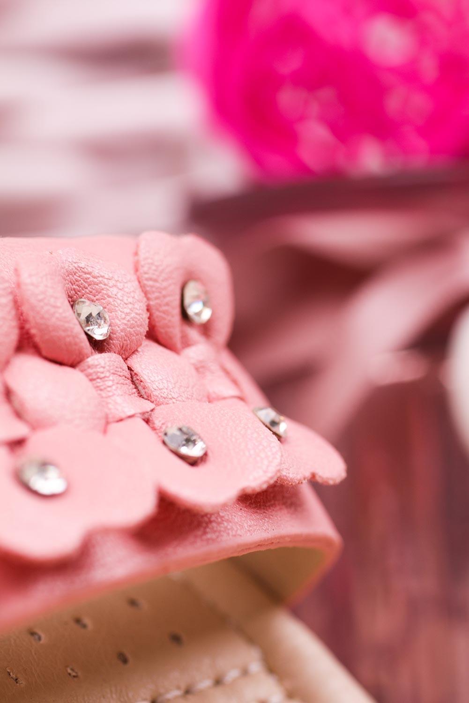 Różowe sandały na rzep z ozdobami Casu HY-13 wysokosc_platformy 1 cm