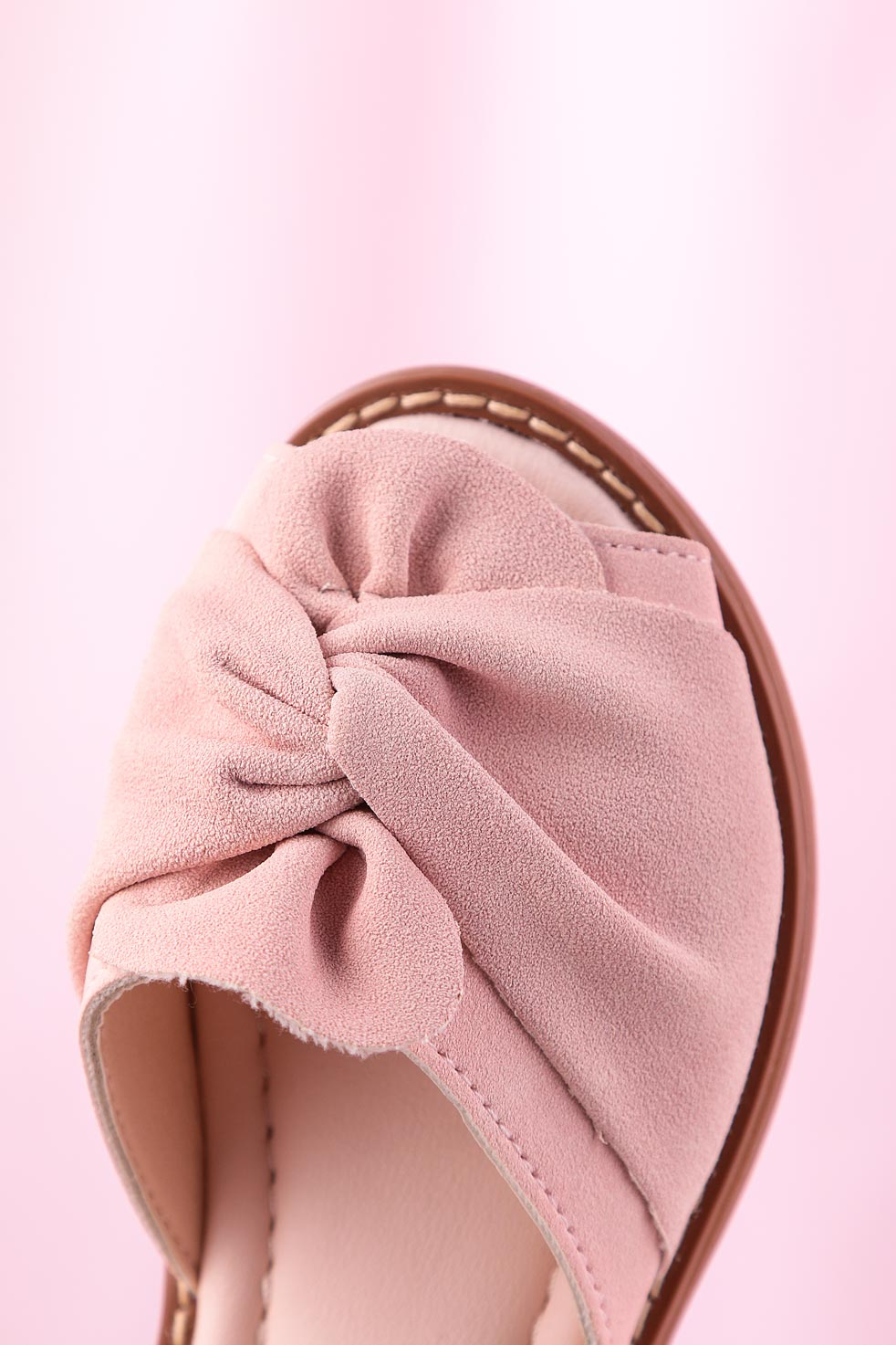 Różowe sandały na rzep z zakrytą piętą kokarda Casu YJ223C jasny różowy