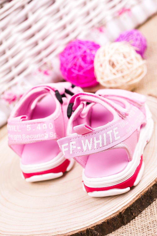 Różowe sandały na rzepy Casu 123B model 123B