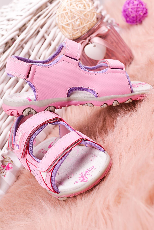 Różowe sandały na rzepy Casu CS9008 różowy