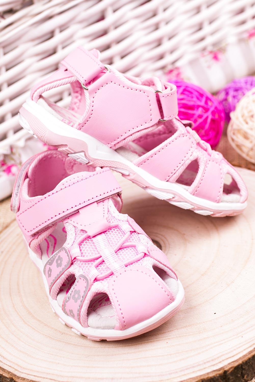 Różowe sandały na rzepy Casu LA117 model LA117