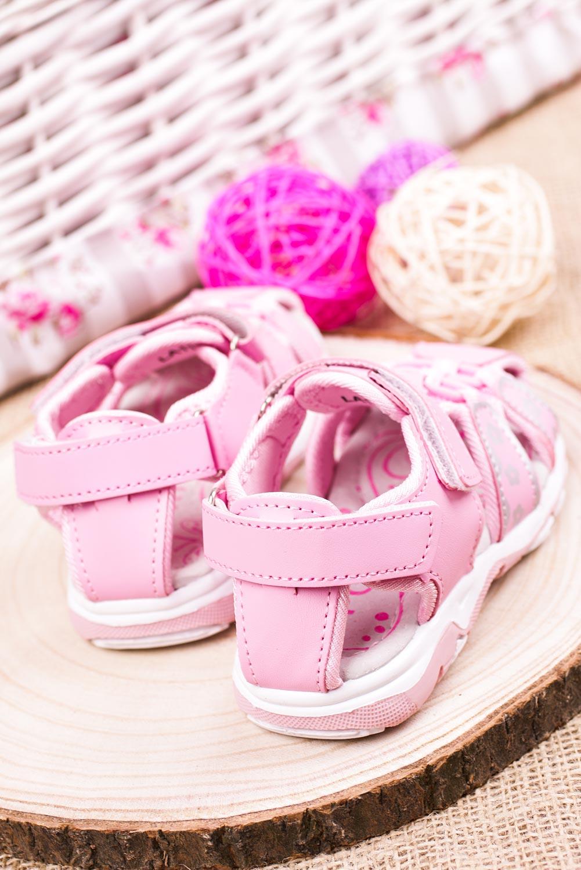 Różowe sandały na rzepy Casu LA117 sezon Lato