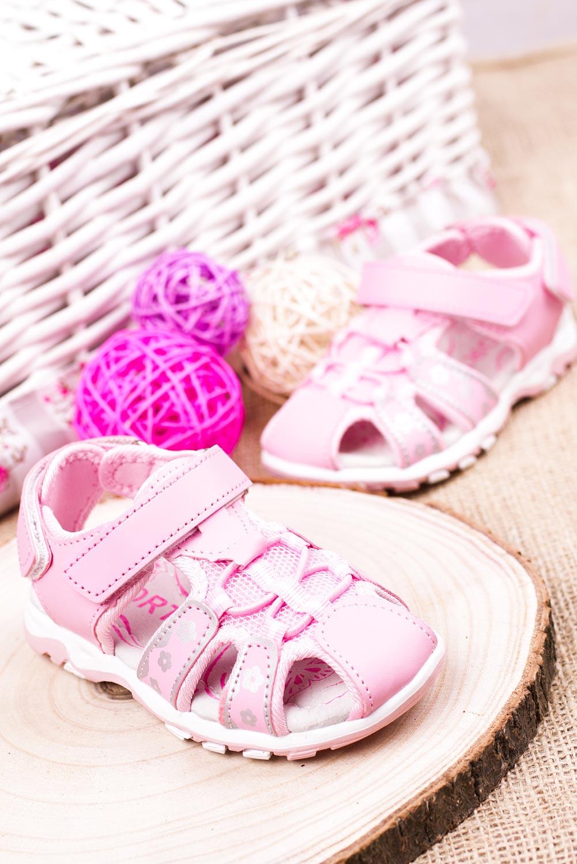 Różowe sandały na rzepy Casu LA117 kolor różowy