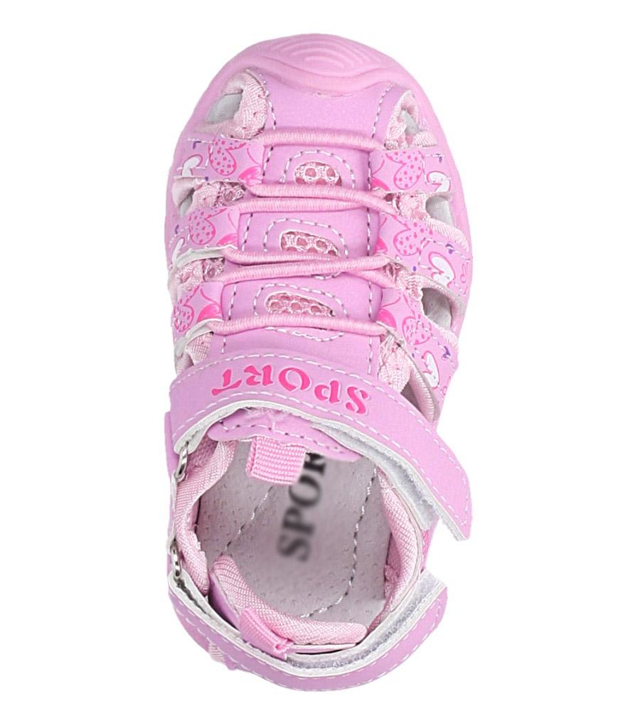 Różowe sandały na rzepy Casu LA92 kolor jasny różowy