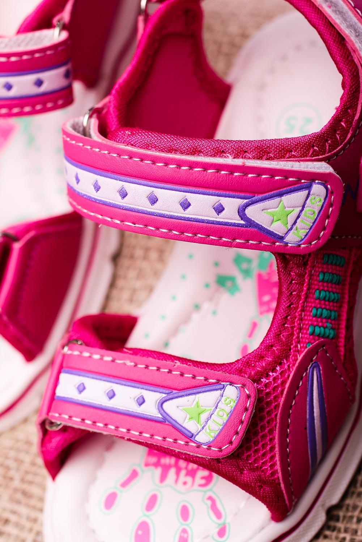 Różowe sandały na rzepy Casu YF-02B