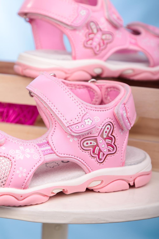 Różowe sandały na rzepy ze skórzaną wkładką Casu 7014