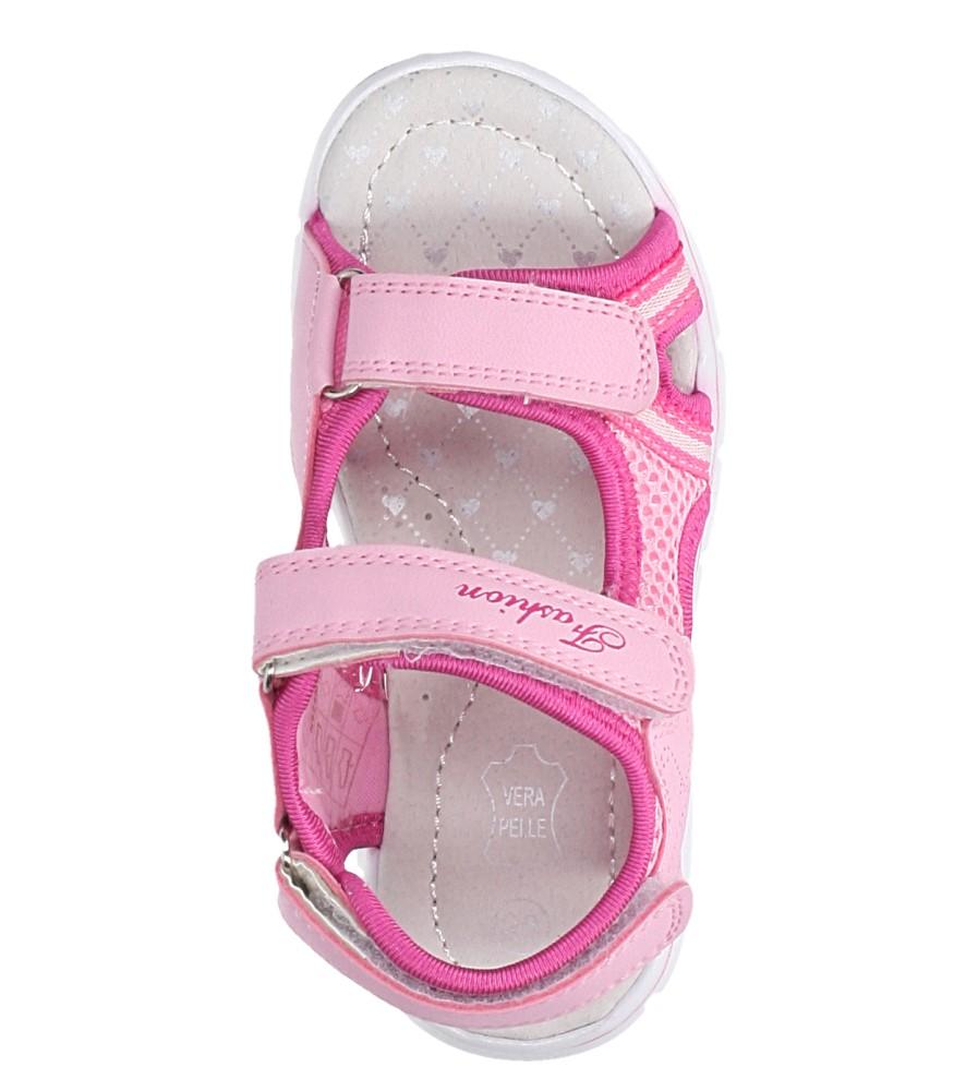 Różowe sandały na rzepy ze skórzaną wkładką Casu N824MR kolor jasny różowy