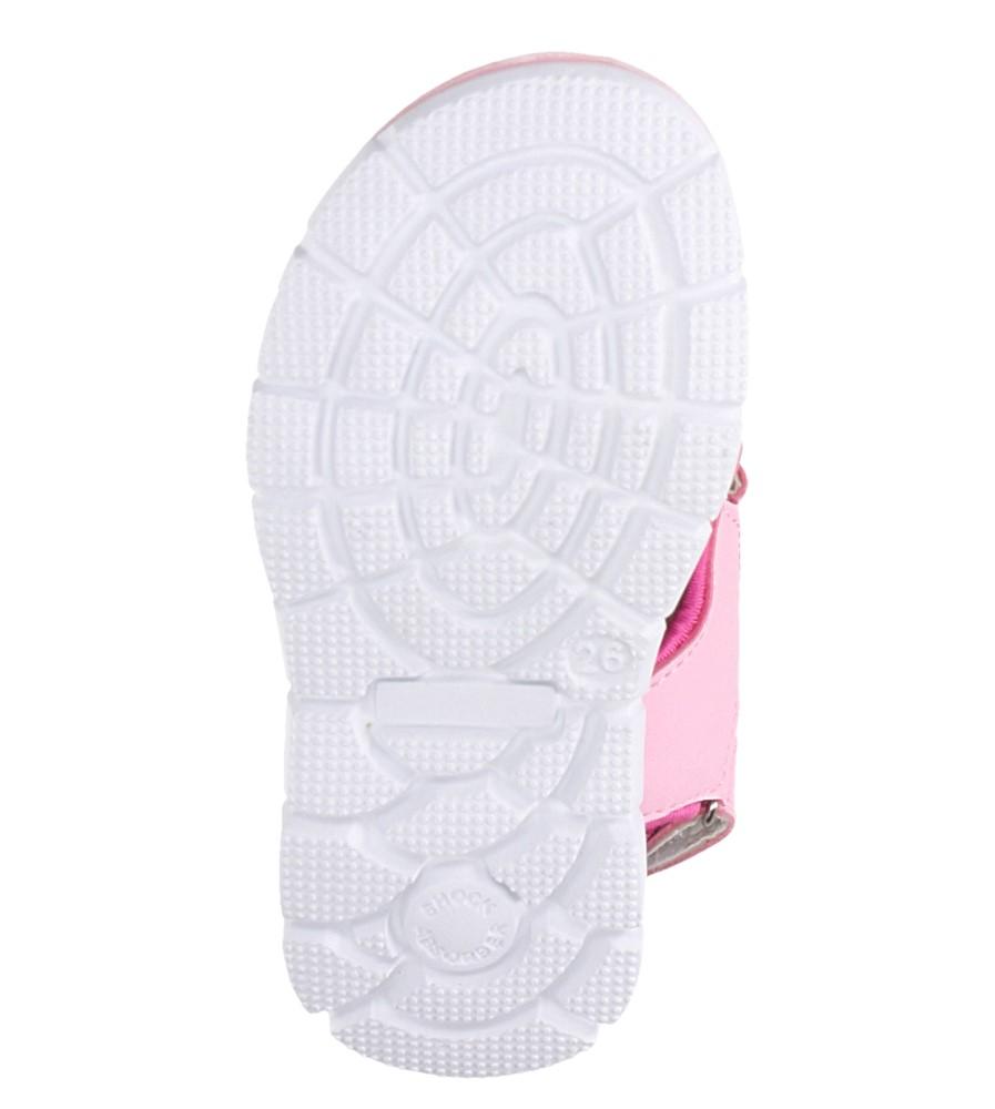 Różowe sandały na rzepy ze skórzaną wkładką Casu N824MR wysokosc_platformy 1 cm
