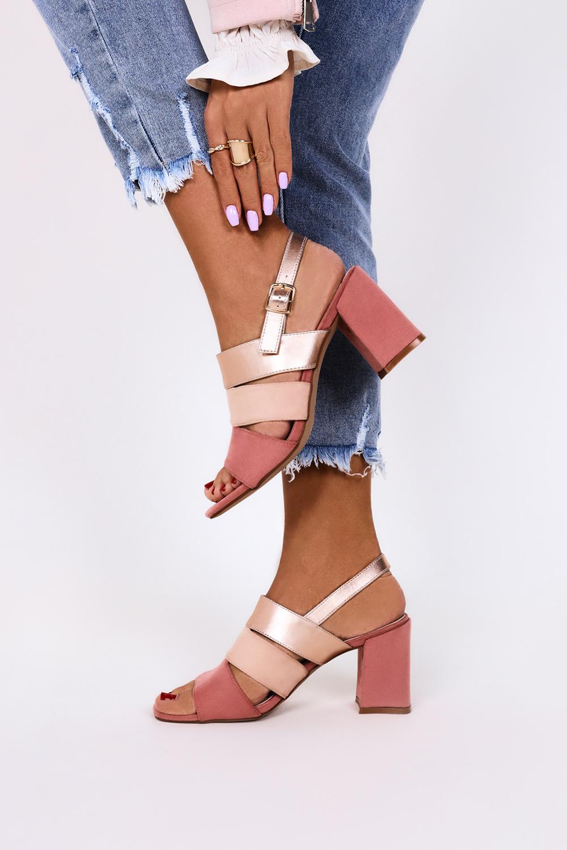 Różowe sandały na słupku ze skórzaną wkładką Casu ER21X19/P