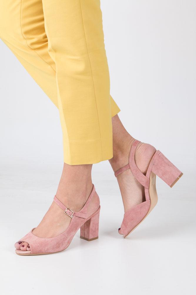 Różowe sandały na szerokim obcasie Sergio Leone SK808-15M