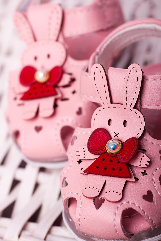 Różowe sandały niemowlęce niechodki na rzep z króliczkami Casu X806A jasny różowy
