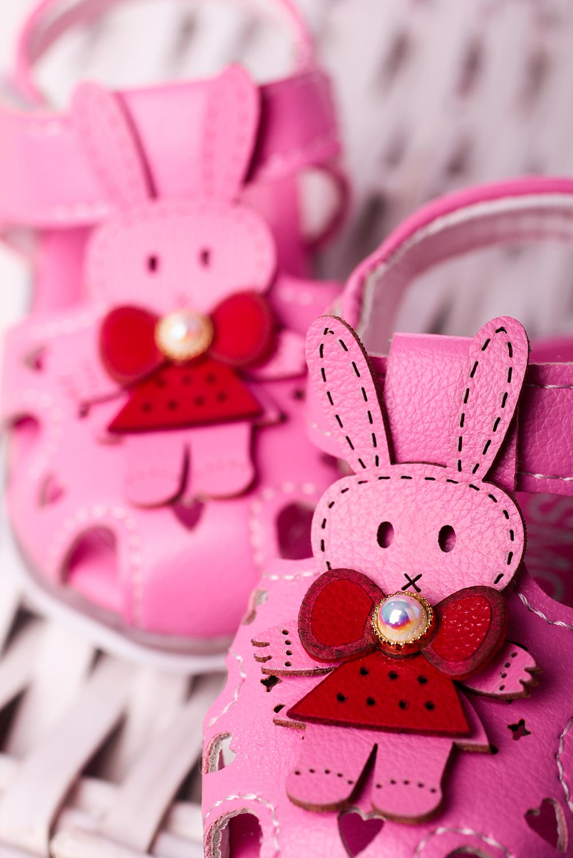 Różowe sandały niemowlęce niechodki na rzep z króliczkami Casu X806A