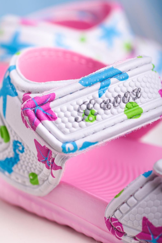 Różowe sandały niemowlęce niechodki na rzepy Casu 6320 różowy