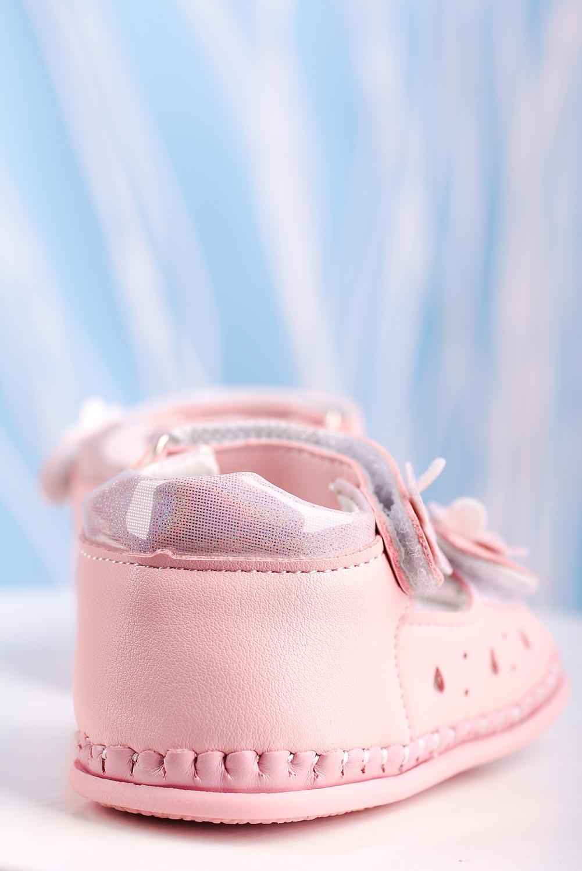Różowe sandały niemowlęce niechodki ze skórzaną wkładką na rzepy Casu FX86 różowy