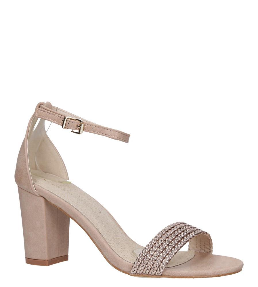 Różowe sandały nude na słupku z zakrytą piętą pasek wokół kostki skórzana wkładka Casu R19X9/N model R19X9/N