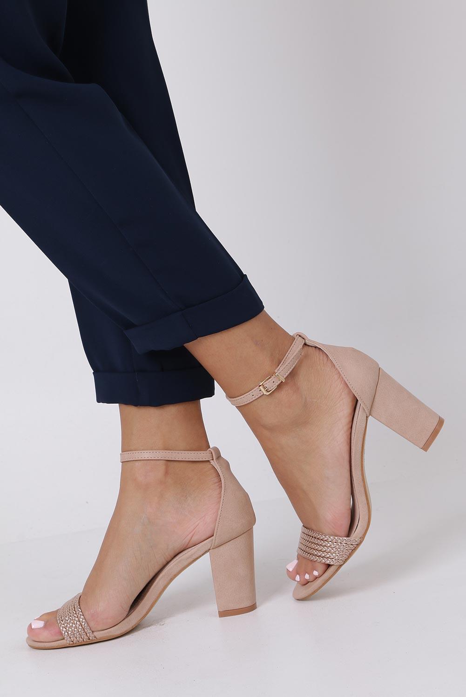 Różowe sandały nude na słupku z zakrytą piętą pasek wokół kostki skórzana wkładka Casu R19X9/N sezon Lato