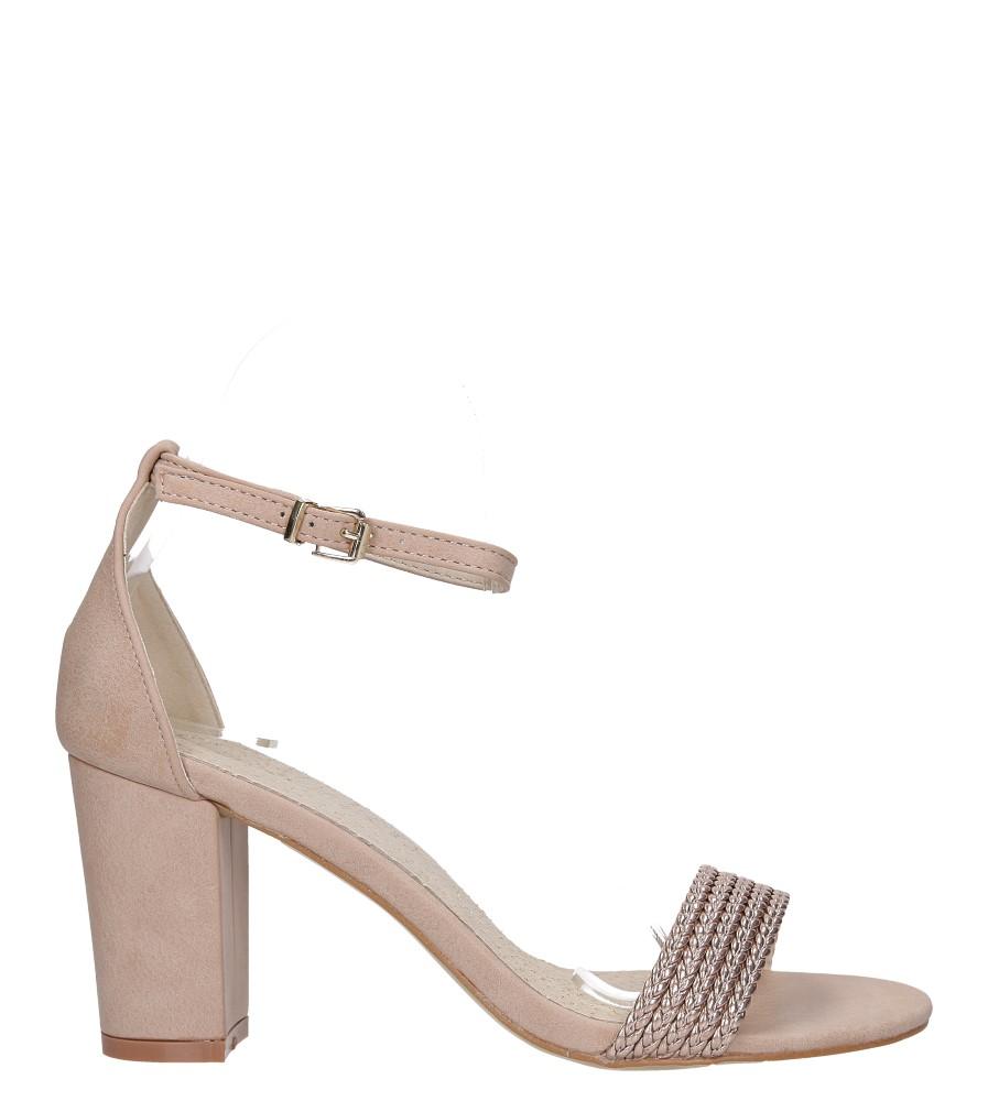 Różowe sandały nude na słupku z zakrytą piętą pasek wokół kostki skórzana wkładka Casu R19X9/N wysokosc_platformy 0.5 cm