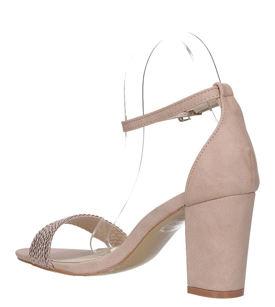 Różowe sandały nude na słupku z zakrytą piętą pasek wokół kostki skórzana wkładka Casu R19X9/N wys_calkowita_buta 16 cm