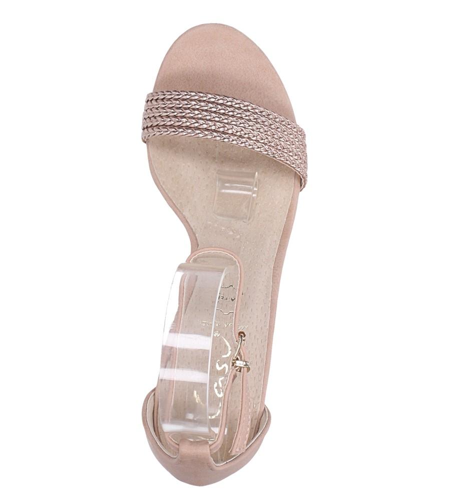 Różowe sandały nude na słupku z zakrytą piętą pasek wokół kostki skórzana wkładka Casu R19X9/N wierzch skóra ekologiczna