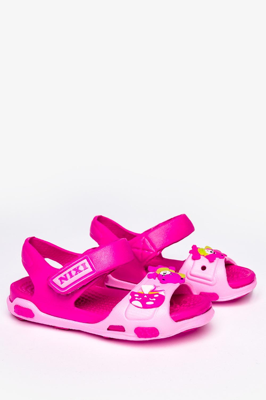 Różowe sandały piankowe na rzep z ozdobą Casu NX517