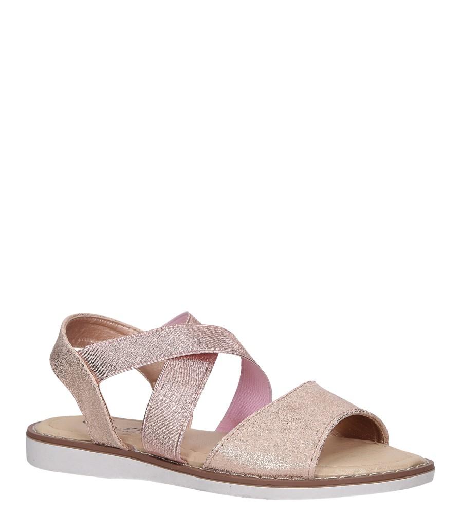 Różowe sandały płaskie błyszczące paski gumki Casu SN19KX1/RG różowy