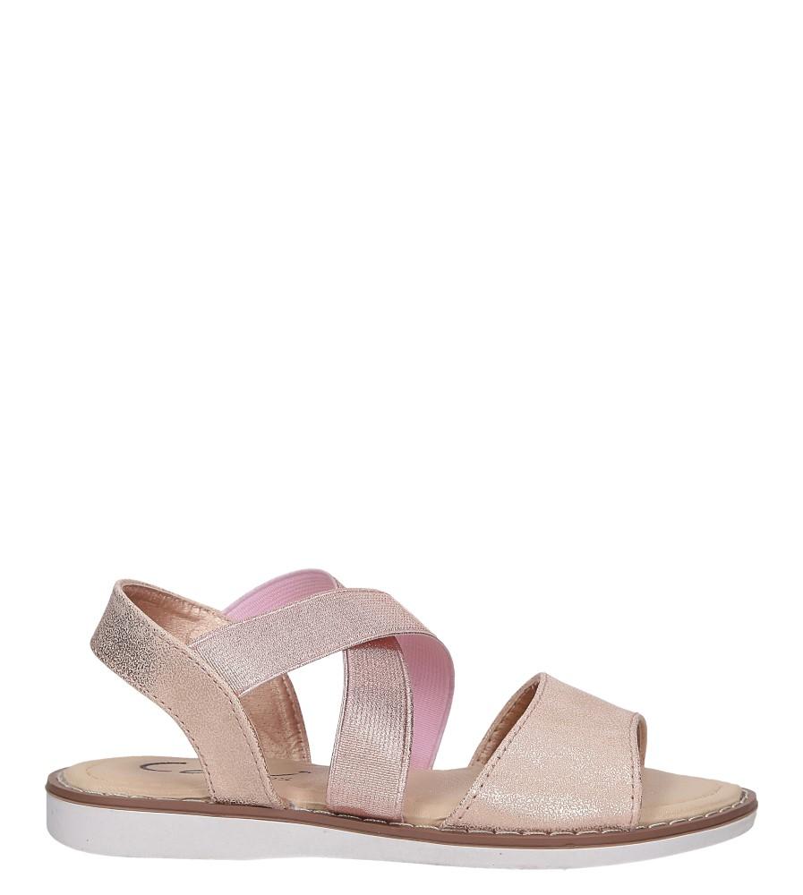 Różowe sandały płaskie błyszczące paski gumki Casu SN19KX1/RG model SN19KX1/RG