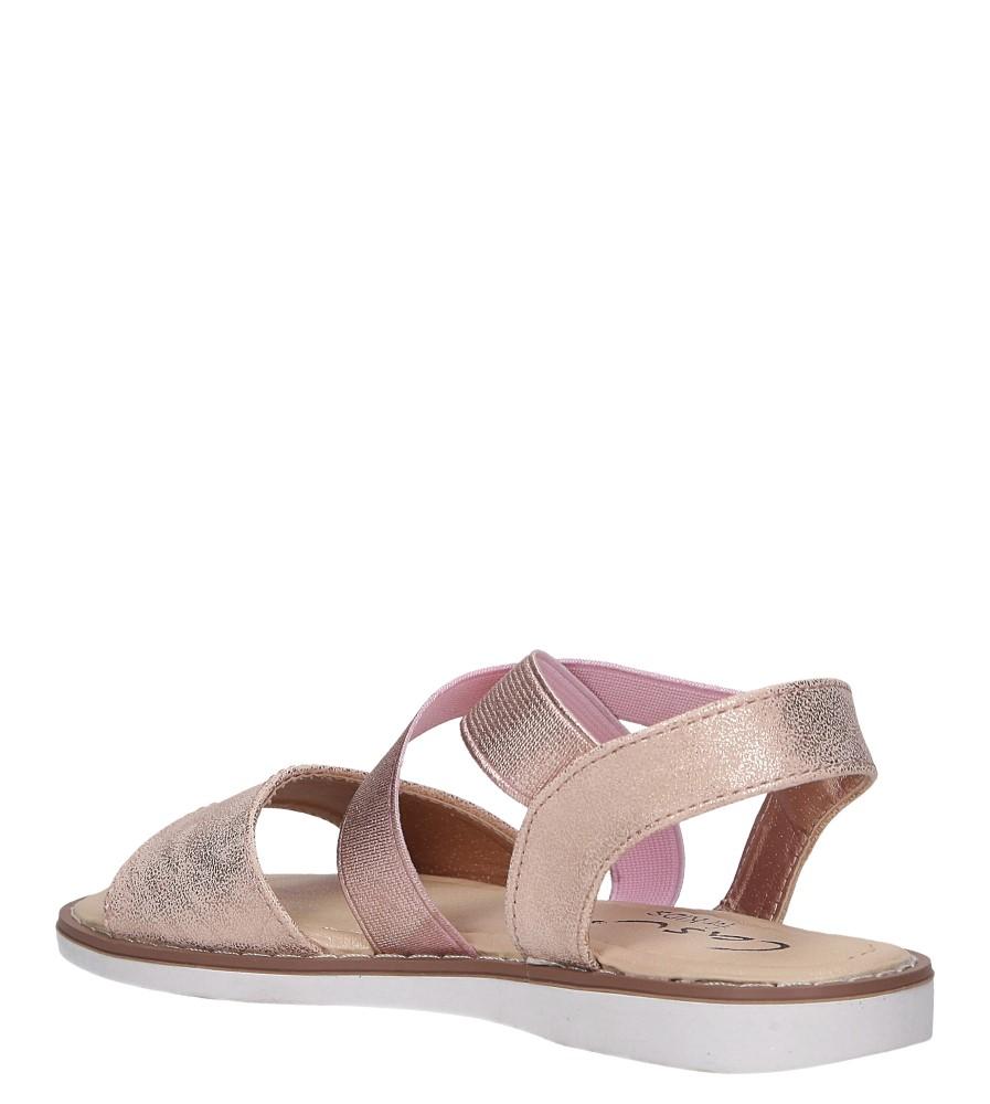Różowe sandały płaskie błyszczące paski gumki Casu SN19KX1/RG sezon Lato