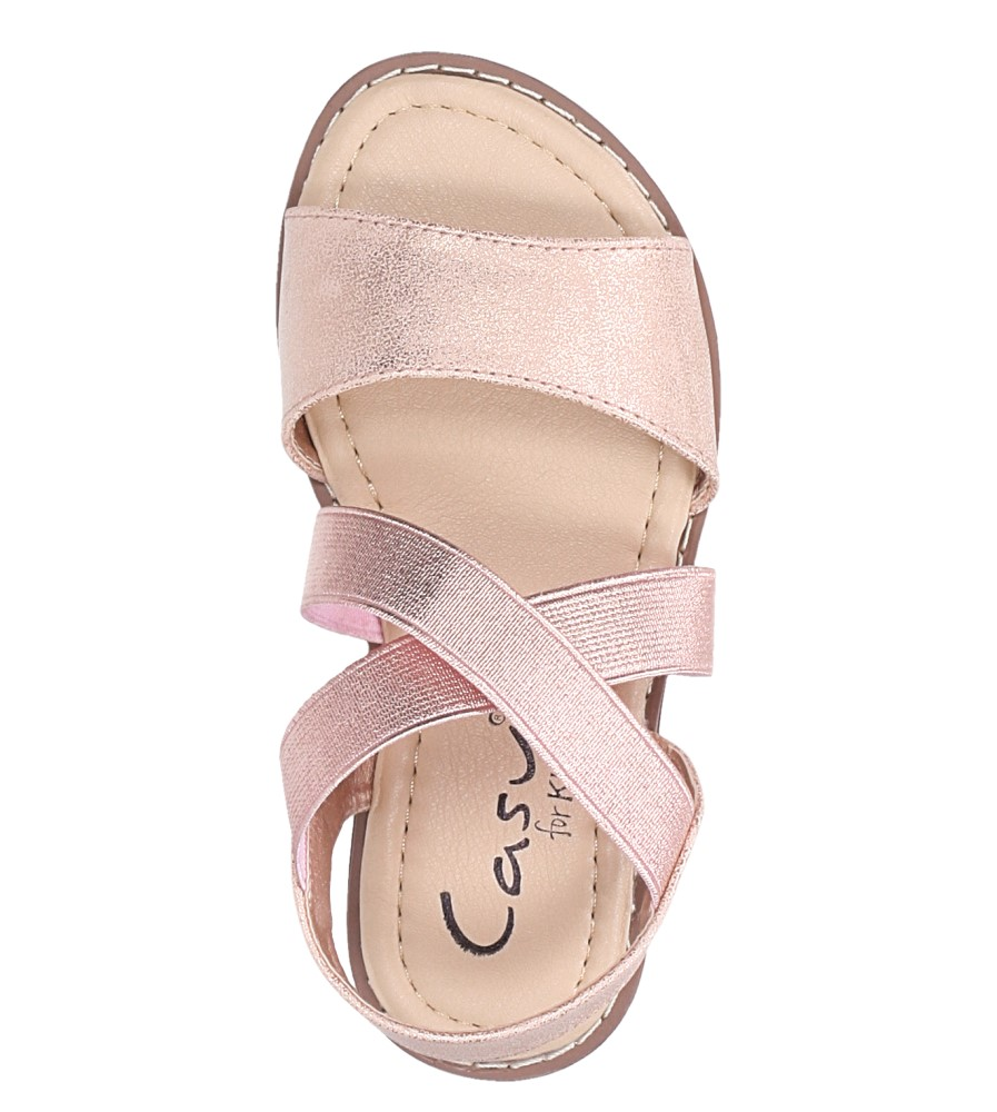 Różowe sandały płaskie błyszczące paski gumki Casu SN19KX1/RG kolor różowy, złoty