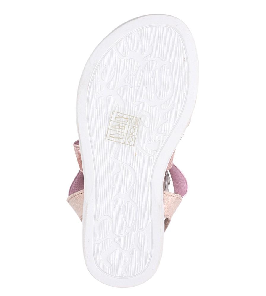 Różowe sandały płaskie błyszczące paski gumki Casu SN19KX1/RG wysokosc_obcasa 1.5 cm